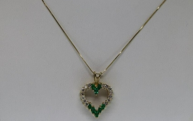 14KT Diamond & Emerald Heart Pendant