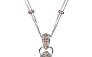 18CT WHITE AND PINK GOLD, ARGYLE FANCY PINK DIAMOND AND DIAMOND RUSSIAN ORTHODOX CROSS PENDANT NECKLACE