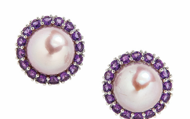 18kt White Gold and Pink South Sea Pearl Earrings