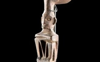19th C. Ifugao Wood Ritual Spoon - Thinker Figure