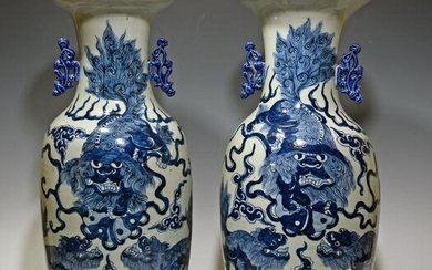 2 Large Chinese Vases with Lions, 19th Century