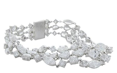 21.05 Carat Total Weight 3 Rows of Fancy Shaped Diamond