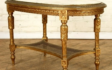 FRENCH GILT WOOD MARBLE TOP LOW TABLE C.1930