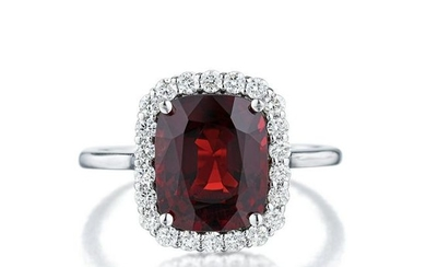 3.29-Carat Burmese Unheated Red Spinel and Diamond Ring
