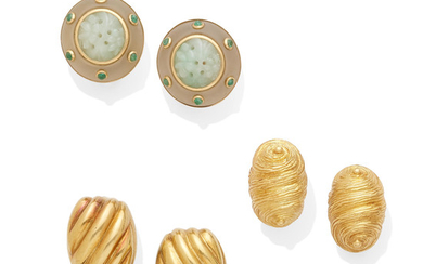 two pairs of gold earclips and a pair of jade ear clips