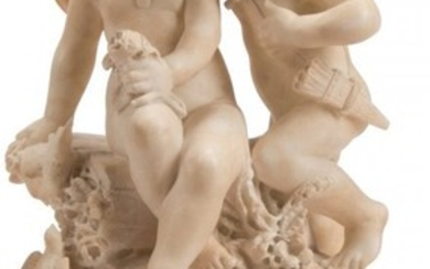 61084: An Italian Carved Alabaster Figural Group on Woo