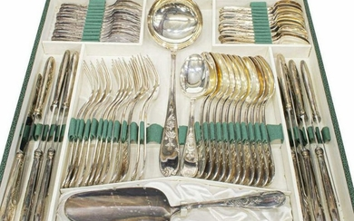 (62) FRENCH SILVER PLATE FLATWARE SERVICE FOR 12