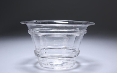 A 19TH CENTURY GLASS ICE BOWL, circular with reeded