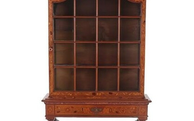 A 19th Century Dutch Mahogany and Marquetry Inlaid Dome-Top Display...