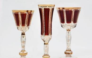 A 26 pc set of Czech ruby and clear glass stemware