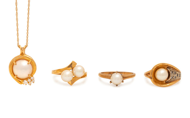 A Collection of Yellow Gold and Cultured Pearl Jewelry,