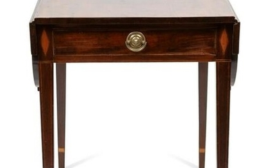 A Federal Inlaid Mahogany Pembroke Table Height 29 1/4