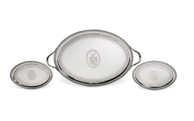 A George III silver two-handled tray and a pair of matching oval waiters, John Crouch I & Thomas Hannam, London, 1792