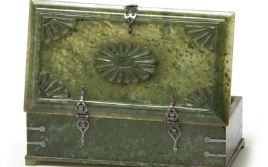 A JADE BOX WITH SILVER FITTINGS
