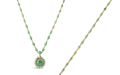 A Jadeite, Pearl and Gold Necklace and Bracelet