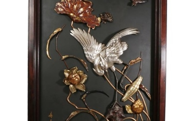 A Japanese Gilt, Silvered and Patinated Wall Plaque, Meiji period,...