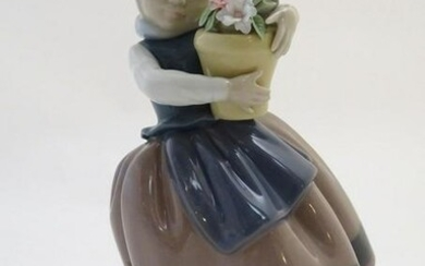 A Lladro figure of a girl with a flower pot, Spring is
