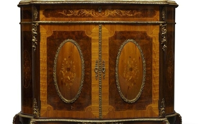 A Louis XV style gilt metal mounted and marquetry inlaid...