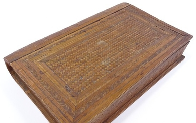 A Napoleonic prisoner of war straw-work box in the form of a...