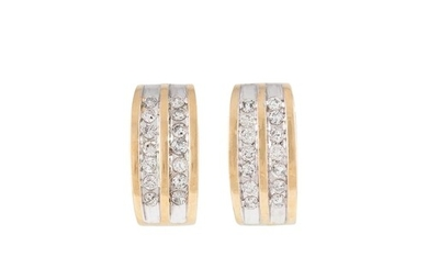 A PAIR OF DIAMOND HOOP EARRINGS, channel set with brilliant ...