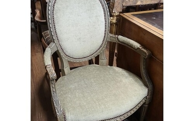 A PAIR OF FRENCH SPOON BACK OPEN ARMCHAIRS Green painted fra...