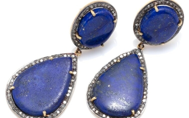 A PAIR OF LAPIS AND DIAMOND DROP EARRINGS; each a 14 x 11mm oval and 23 x 12mm pear shape lapis plaque surrounded by single cut diam...