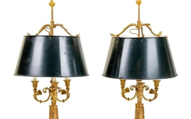 A Pair of Empire Style Gilt Bronze Bouillotte Lamps