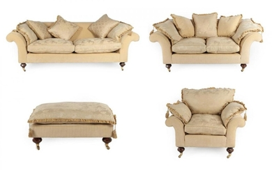 A Parker & Farr Four Piece Suite, circa 2010, upholstered...