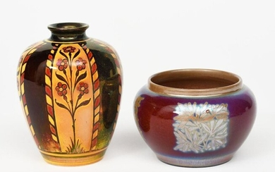 A Pilkington's Lancastrian Pottery lustre vase by William S Mycock, dated 1906, ovoid with collar rim, painted with simple foliate panels in golden lustre on a red ground, and a Pilkington's Lancastrian vase by Gordon Forsyth painted with floral panels...