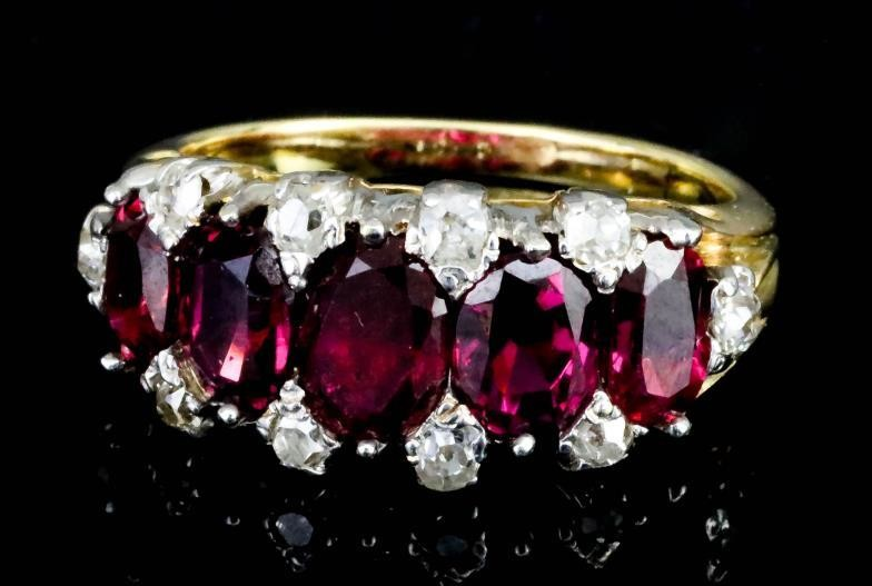 A Ruby and Diamond Ring, 20th Century, in gold...