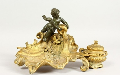 A SUPERB LINKE MODEL GILDED BRONZE SHELL SHAPED