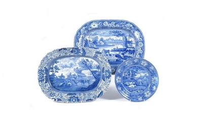 A Staffordshire blue and white printed 'Durham Ox' Series serving dish