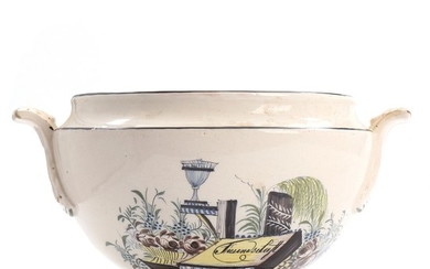 A Swiss faience tureen, decorated in polychrome colours. Presumably Matzendorf. C. 1830. H. 15 cm.