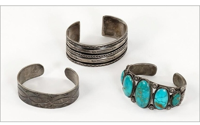 A Turquoise and Silver Cuff Bracelet.