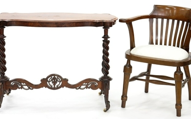 A VICTORIAN SERPENTINE WALNUT CENTRE TABLE ON SPIRAL TURNED ...