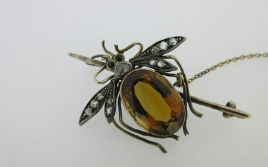 A Victorian diamond and citrine insect pin,