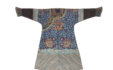 A blue ground embroidered court robe