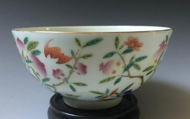A chinese famille rose flower bowl guanxiu mark