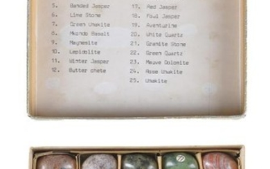 A collection of twenty five semi-precious stone specimen models of eggs