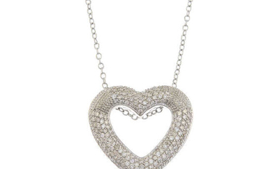 A diamond openwork heart pendant, with chain.