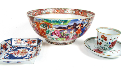 A famille rose punch bowl, an Imari dish and tea bowl and saucer