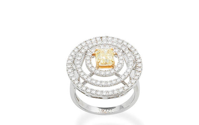 A fancy-coloured diamond and diamond ring