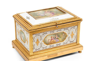 A gilt bronze mounted Sèvres style porcelain box