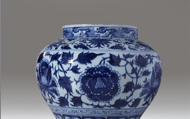"A large Chinese blue and white-decorated porcelain ""Peonies"" jar,..."