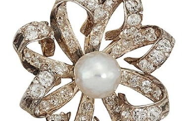 A late 19th century natural pearl and...