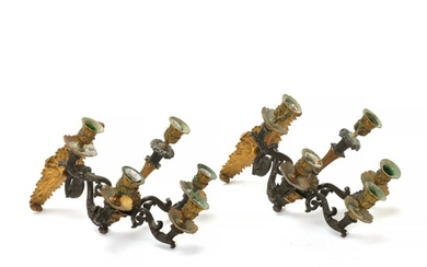 A pair of 19th c. French Louis Philippe parcel-gilt and patinated bronze sconces. H. approx....