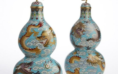 A pair of Chinese cloisonne enamel gourd vases