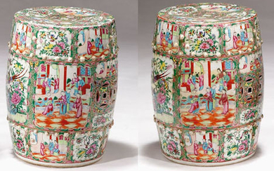 A pair of Chinese famille rose porcelain garden seats...