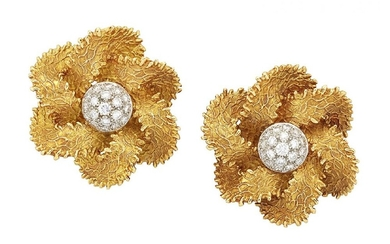 A pair of French, diamond earrings, each...