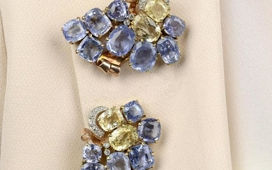 A pair of Sri Lankan sapphire and yellow sapphire